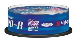 VERBATIM 43538 DVD-R 25cake 16x printable media (krabice=8x25pack)