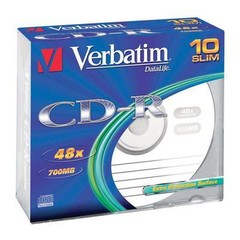 VERBATIM 43415 CD-R 10slim 52x DL EP media (krabice=10x10pack)