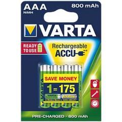 VARTA 4pack AAA/HR03 800mAh nabíjecí baterie Ni-MH (Longlife Accus, Ready2Use)
