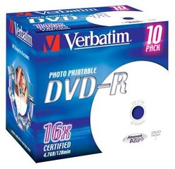 VERBATIM 43521 DVD-R 10jewel 16x printable media (krabice=10x10pack)