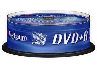 VERBATIM 43500 DVD+R 25cake 16x silver media (krabice=8x25pack)