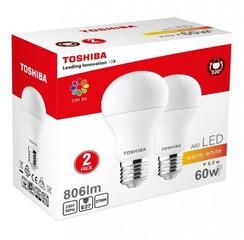 TOSHIBA A60 duo pack LED žárovka E27 8.5W / 806lm / 2700K / Teplá bílá (2 ks v balení)