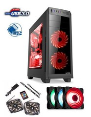 1stCOOL Middle Tower GAMER 2, ATX black černý, bez zdroje, fulltower ATX (2xUSB2+ 1xUSB3+ Audio+ Ventilátor set FAN1+ Transparentní bočnice) (PC case)