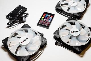 1stCOOL Fan KIT2, 3x RGB LED ventilátor 120x25mm+ řadič+ dálkové ovládání (sada do case)