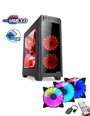 1stCOOL Middle Tower GAMER 2, ATX black černý, bez zdroje, fulltower ATX (2xUSB2+ 1xUSB3+ Audio+ Ventilátor set FAN2+ Transparentní bočnice) (PC case)