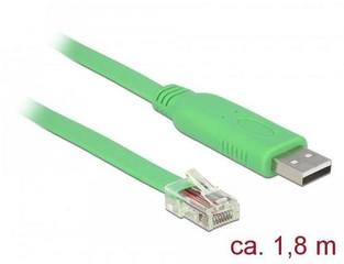 DELOCK ADAPTÉR pro CISCO sériový kabel USB 2.0 (M) do RJ-45 (M) 1,8m, zelený