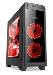 1stCOOL Middle Tower GAMER 2, ATX black černý, bez zdroje, fulltower ATX (2xUSB2+ 1xUSB3+ Audio+ Transparentní bočnice) (PC case)