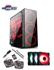1stCOOL Middle Tower GAMER 3, ATX black černý, bez zdroje, fulltower ATX (2xUSB2+ 1xUSB3+ Audio+ Transparentní bočnice) (PC case)