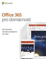 MS OFFICE 365 HOME Czech Eurozone předplatné 1 rok až 6 uživatelů, (Office 365 pro domácnosti), (česká krabicová verze) 32-bit/x64 CZ, bez média