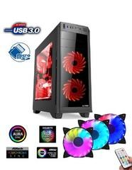 1stCOOL Middle Tower GAMER 2 AURA, ATX black černý, čtečka karet, bez zdroje, fulltower ATX (2xUSB2+ 1xUSB3+ Audio+ Transparentní bočnice) (PC case)