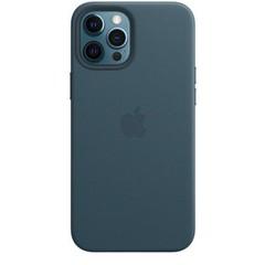 APPLE pouzdro iPhone 12 Pro Max Leather Case with MagSafe B.Blue (pouzdro modré)