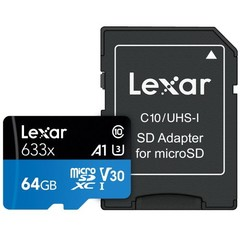 LEXAR Micro SD card SDXC 64GB High-Performance 633x UHS-I + SD adaptér