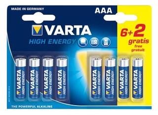 VARTA 8pack (6+2 zdarma) HighEnergy AAA/LR03 1220mAh baterie alkalické (cena za 1x8pack, 5let
