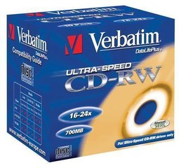 VERBATIM 43133 CD-RW Color 5slim, 4x, media (krabice=20x10pack)