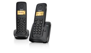SIEMENS Gigaset A120 DUO bezdrátový telefon, podsvícený display, 1 ručka navíc, černý