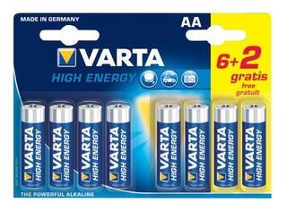 VARTA 8pack (6+2 zdarma) HighEnergy AA/LR6 2900mAh baterie alkalické (cena za 1x8pack, 5let