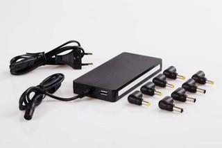 EUROCASE 90W SLIM AUTOMATIC univerzální napájecí adaptér vstup 110-240V / výstup USB + 8 různých kon