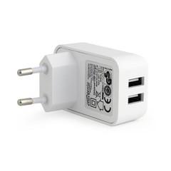Kabel Nabíječka USB 230V AC 2port 2.1A white GEMBIRD EG-U2C2A-01-W