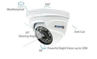KGUARD CCTV dome kamera DA713FPK 720p, IR LED dosvit 30m, 3.6mm fixní objektiv, voděodolná, antivand