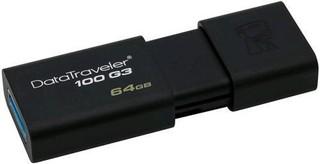 KINGSTON DataTraveler100 G3 128GB black USB3.0 flash drive (černý, výsuvný konektor)