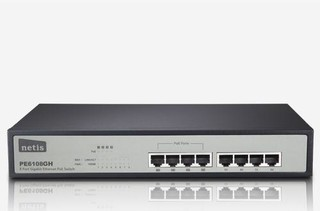 NETIS PE6108GH GBit PoE switch, 8x 10/100/1000Mbps/4x POE port, rack kovový,80W, 30W na port