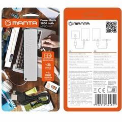 MANTA MPB001W Power Bank 2800mAh, externí cestovní baterie (bílá), 1xUSB