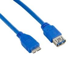 4WORLD kabel USB micro, 5m, USB3.0, USB A(F) - microUSB B(M), modrý, 5.0m
