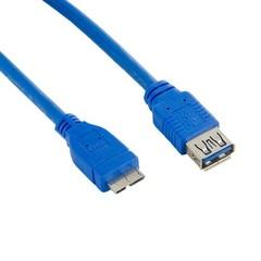 4WORLD kabel USB micro, 4m, USB3.0, USB A(F) - microUSB B(M), modrý, 4.0m