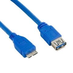 4WORLD kabel USB micro, 1.8m, USB3.0, USB A(F) - microUSB B(M), modrý, 1.8m