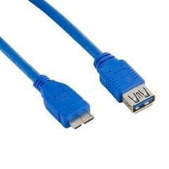 4WORLD kabel USB micro, 3m, USB3.0, USB A(F) - microUSB B(M), modrý, 3.0m