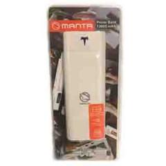 MANTA MPB006W Power Bank 12000mAh, externí cestovní baterie (bílá), 2xUSB