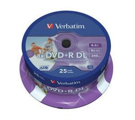 VERBATIM 43667 DVD+R 25cake 8x, (double layer) 8.5GB printable media (krabice=8x25pack)