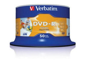 VERBATIM 43533 DVD-R Wide 50cake 16x printable media (krabice=4x50pack)