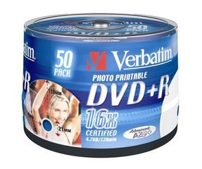 VERBATIM 43512 DVD+R 50cake 16x printable media (krabice=4x50pack)