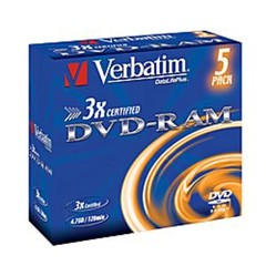 VERBATIM 43450 DVD-RAM 5jewel 3x 4.7GB media bez cartridge (krabice 10x5pack)