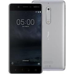 NOKIA 5 Dual SIM Silver, mobilní telefon stříbrný, podporuje 2 SIM karty, fotoaparát, Android 7