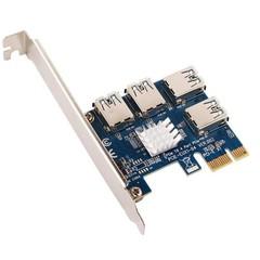 ANPIX adaptér z PCI-E 1x na 4 porty pro RISER karty s konektorem USB (pro těžbu kryptoměny, nefunguj