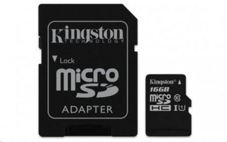 KINGSTON micro SD card SDHC 16GB class10 UHS-I U1 (+ 1x adapter microSD na SD) (pro SDHC a SDXC zaří