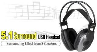 A4TECH sluchátka HU-510 5.1 Surround USB, black, 8 reproduktorů, regulace hlasitosti