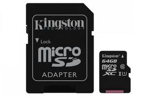KINGSTON micro SD card SDXC 64GB class10 UHS-I U1 (+ 1x adapter microSD na SD) (pro SDXC zařízení)